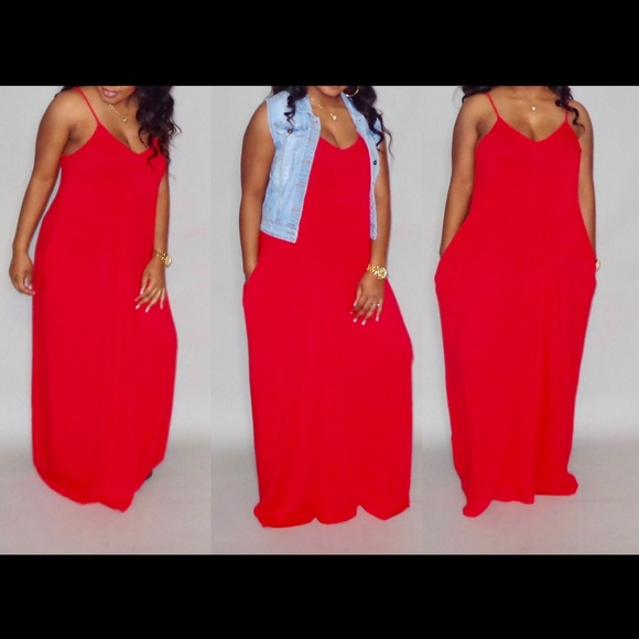 Red Maxi Dress ( also available in plus size) Boutique